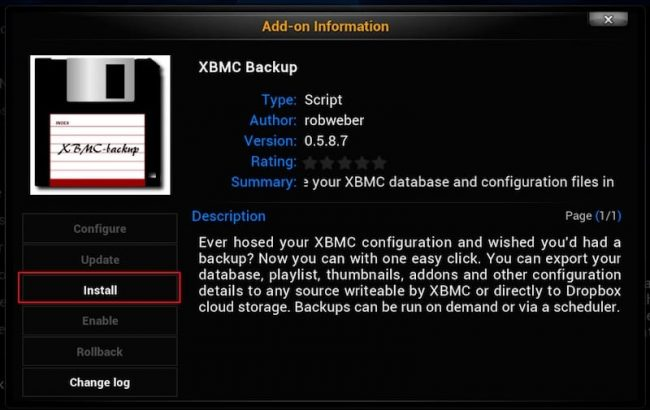 Kodi Add ons Backup